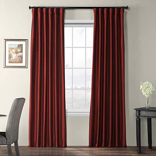 (Half Price Drapes PTCH-BO1066-96 Blackout Faux Silk Taffeta Curtain, Syrah)