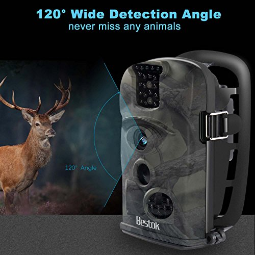 Bestok Trail Camera 120° 12MP HD Infrared Night Vision 65ft 2.4'' LCD Game Deer Waterproof Camera Hunting/Home Security Camera