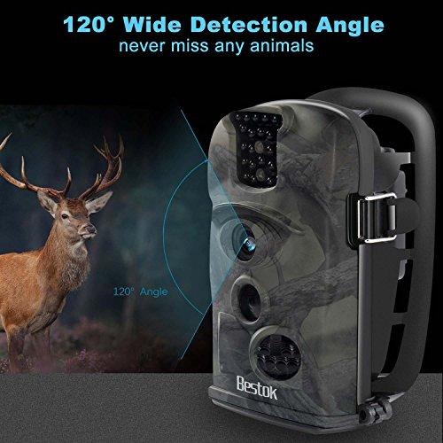 Bestok Trail Camera 120° 12MP HD Infrared Night Vision 65ft 2.4'' LCD Game Deer Waterproof Camera Hunting/Home Security Camera