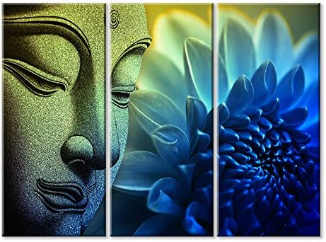 BUDDHA AND FLOWERS CANVAS WALL ART PICTURES HOME DECORATION PRINTS PHOTO IMAGES