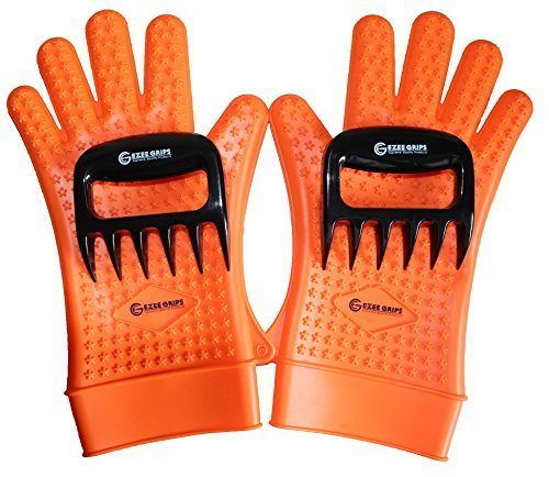 Silicone Heat Resistant Oven Grill BBQ Gloves for Cooking, Baking, Smoking & Potholder - with 2 Meat Shredders - (2 sizes) (L/XL, Orange) by EZEE GRIPS