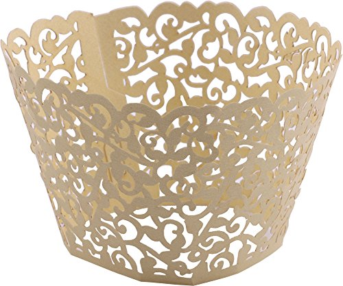 DriewWedding 100PCs Vine Designed Hollow Artistic Bake Cake Cupcake Wrappers Paper Cups Liner for Wedding Birthday Tea Party Baby Shower Food Decoration (Gold) (Dessert Vine)