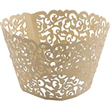 DriewWedding 100PCs Vine Designed Hollow Artistic Bake Cake Cupcake Wrappers Paper Cups Liner for Wedding Birthday Tea Party Baby Shower Food Decoration (Gold)