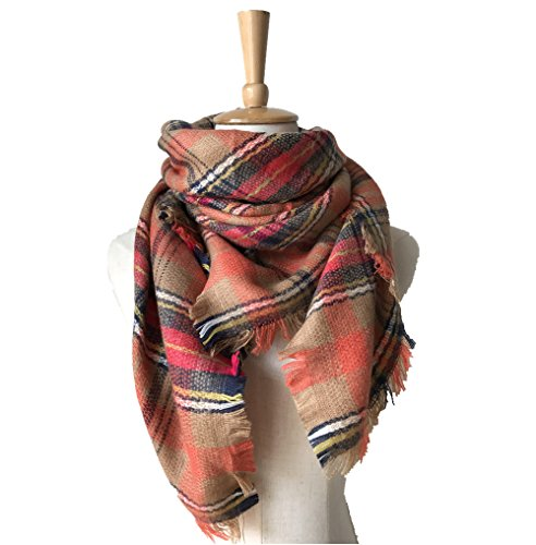 Cashmere Scarf Ribbed (Unisex Kids Cashmere Ribbed Warm Winter Light Scarf for Outdoor Travel Orange Plaid)