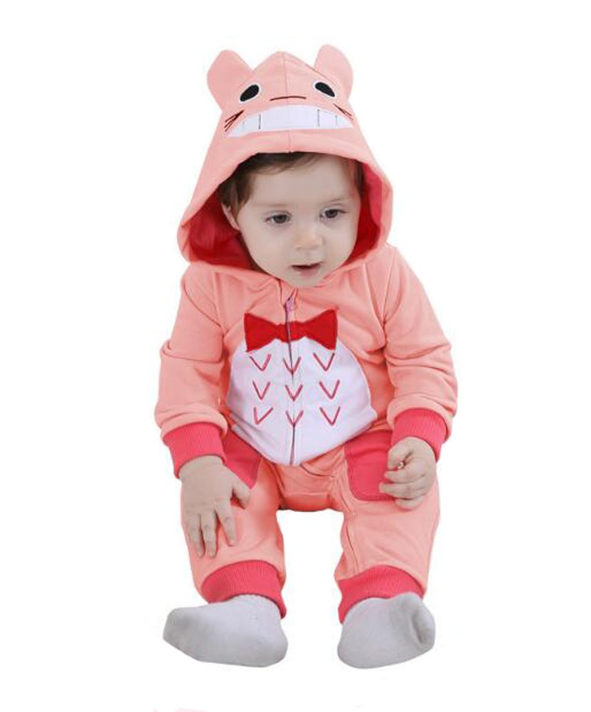 Tonwhar Unisex Baby Cartoon Animal Hooded Zip-up Sweatshirt Jumpsuit