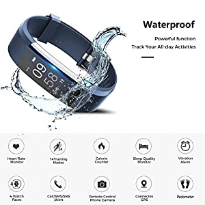 Fitness Tracker Watch,TOOBUR Waterproof Activity Tracker with Pedometer Heart Rate and Sleep Monitor,Step Calorie Counter Wristband Smart Watch for Men and Women