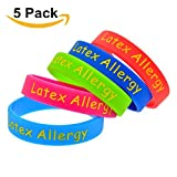 Sunling 2 5 Pack Kids Friendly Food Latex Allergy Awareness Medical Alert Bracelet for Children Silicone Emergency Wristband,16cm-Wonderful Life Saver
