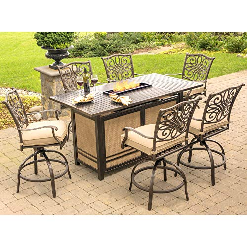 Fire Pit Set. 7 Piece Modern Outdoor Porch, Lawn, Pool, Garden, Balcony Diner, Conversation, Seating, Bistro, Chat Aluminum Furniture Kit Outside Square Table, Chairs, Cushions