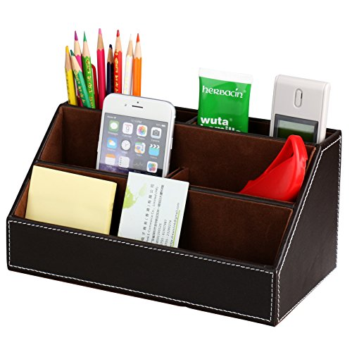 HOMETEK 5 Compartment Desk Organizer Pen Pencil Caddy Desktop Organizer Media/Card/Remote Control Holder Organizer PU Leather Office Supplies (Brown)