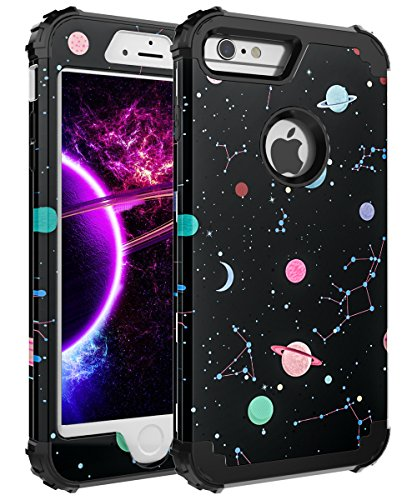 FOOXII iPhone 7 Case,iPhone 8 Case [Heavy Duty Shockproof] Silicone + PC Three Layer Hybrid Case High Impact Resistant Protective Cover Case for iPhone 7/iPhone 8 Space Black