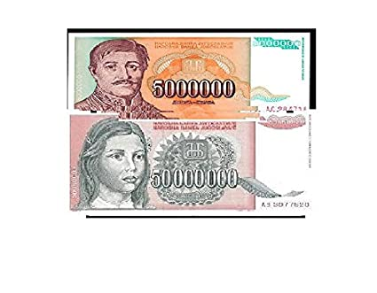 GOLD MINT Yugoslavian 5 Million And 50 Million Dinara Notes