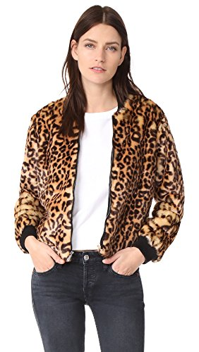Splendid Women's Leopard Faux Fur Bomber Jacket, Tank, Small - Splendid Leopard
