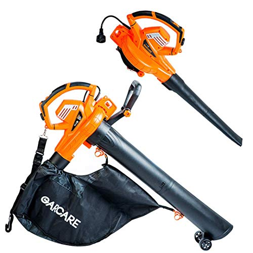 - GARCARE 12A High Performance 3 in 1 Corded Electric Blower/VAC/Mulcher with Variable Speed Selections