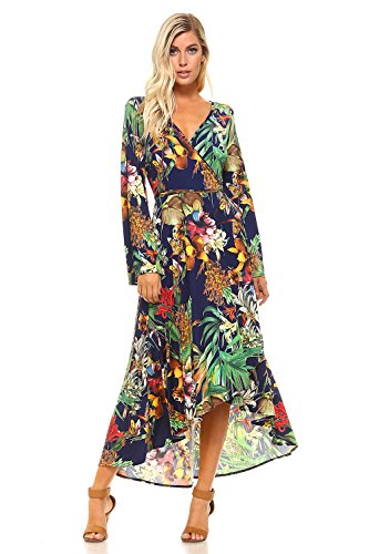 Frumos D4168 Womens Maxi Dress Hawaiian Style Long Dress Navy White (Hawaiian Party Dress)
