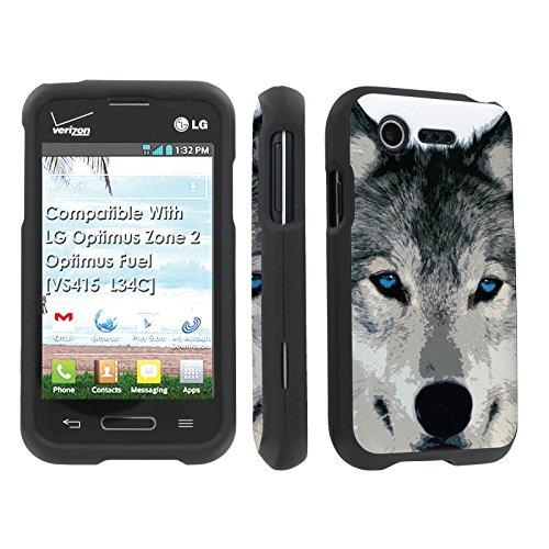 LG Optimus Zone 2 / Optimus Fuel [VS415 / L34C] Case, [SkinGuardz] Black Form Fit Fancy Protection Case - [Wolf] Print Design