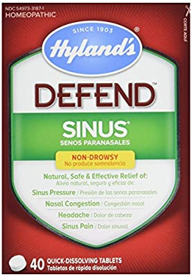 Hyland's DEFEND Sinus, Natural Relief of Sinus Pain and Pressure, Headache and Nasal Congestion Due to Common Cold, 4O Count