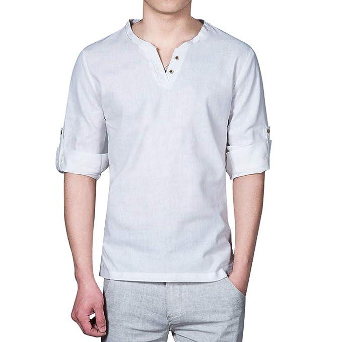 STRIR Camisa Hombre Lino Blusa Suelta Casual Transpirable Top de Manga Larga Camisas Sin Cuello de