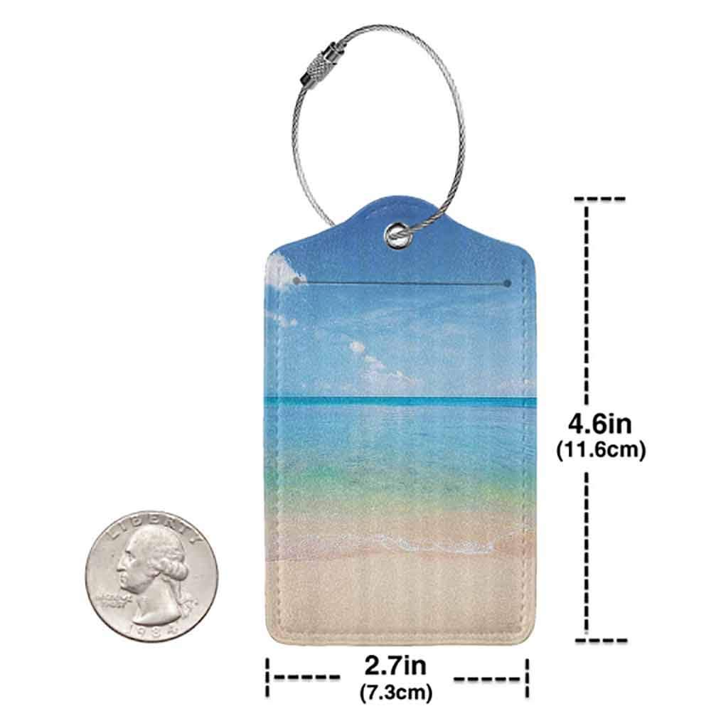 Printed luggage tag Ocean Island Seashore Beach Sandy Photo with Clear Bright Sunny Sky Image Protect personal privacy Cream Sky Blue Turquoise W2.7 x L4.6