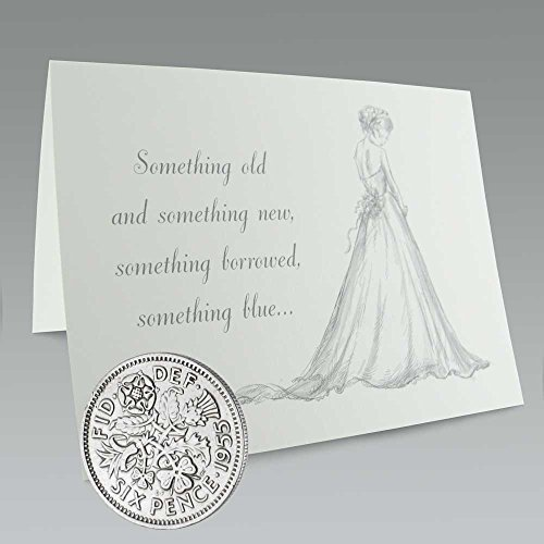 Authentic Sixpence Coin and Card for the Bride | Something Old, Something New, Something Borrowed, Something Blue, and a Sixpence for Her Shoe ()