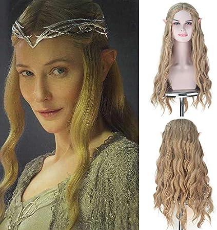 Pelucas sintéticas Royalvirgin Full Machine The Movie Hobbit Elf Queen Galadriel Cosplay Pelucas largas onduladas 613 pelo rubio ceniza dorado para uso de Halloween