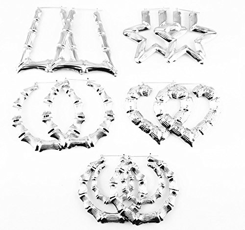 Honbay 5 Pairs Different Shape Bamboo Hoop Earrings (Silver)