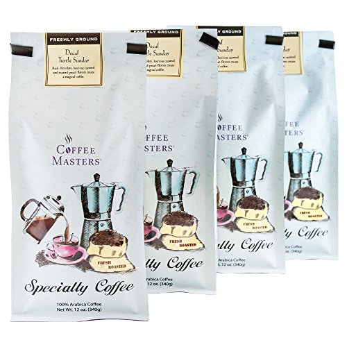 Coffee Masters Flavored Coffee, Turtle Sundae Decaffeinated, Ground, 12-Ounce Bags (Pack of 4) ()