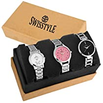 Swisstyle Analogue White Black Pink Dial Women's Combo Of 3