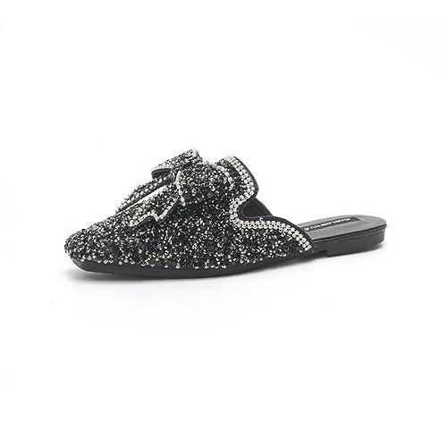 c91734d4464040 Women Slides Half Slippers Mules Shoes Woman Flats Sandals Summer Slippers(Black  35 4.5