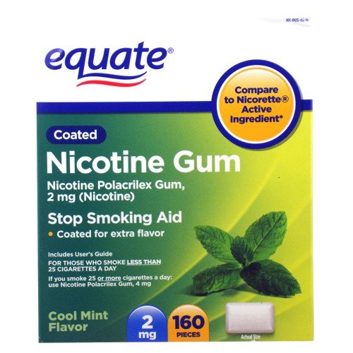 Coated Nicotine Gum (Equate - Nicotine Gum 2 mg, Coated, Cool Mint Flavor, 160 Pieces)