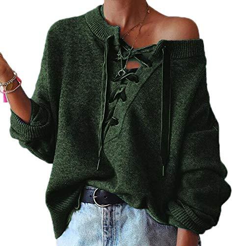 Sweater Women Warm Casual Huateng Pullover Verde dxIpwYUqY