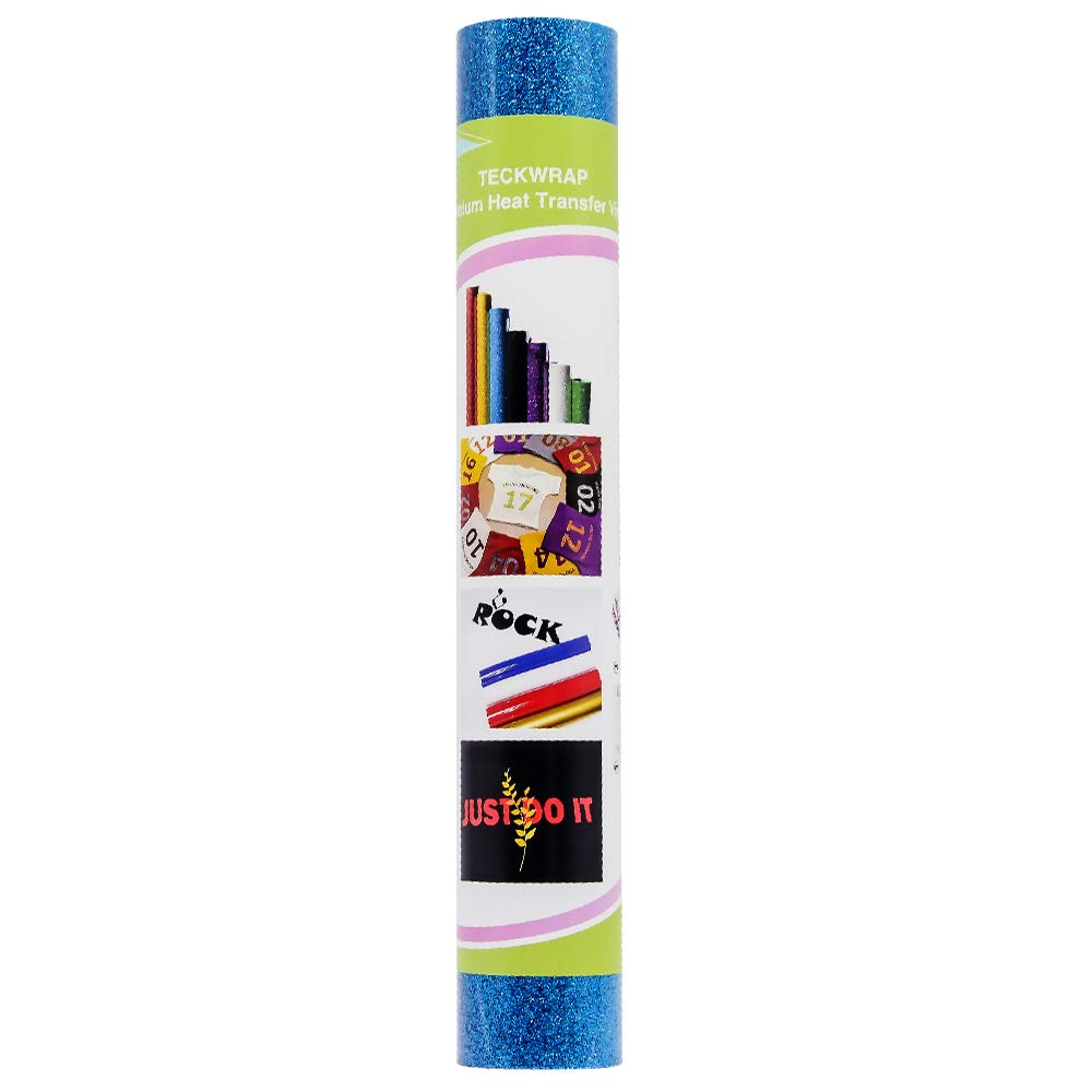Glitter HTV Heat Transfer Vinyl 9.8 by 5ft (Aqua Blue) TECKWRAP