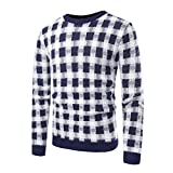Spbamboo Mens Pullover Sweater Knitted Long Sleeve Tops Striped Outwear Blouse