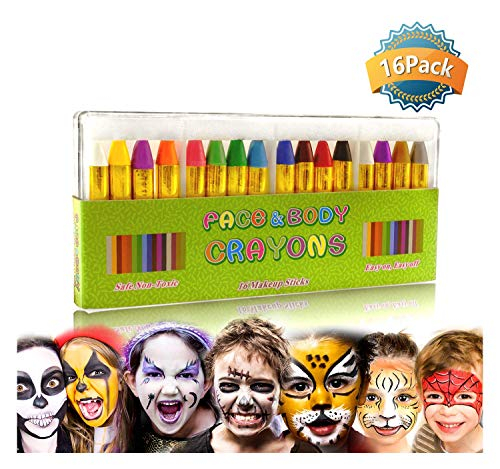 GiBot Face Paint Crayons 16 Colors Face and Body Paint Sticks Body Tattoo Crayons Kit for Kids, Child ,Toddlers, adult and World Cup Carnival,Non-toxic,Set of 16 -