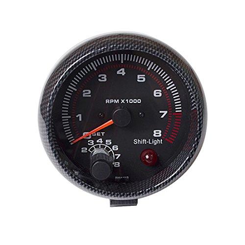 (SINOVCLE Car Gauge 3.75 Inch Tachometer TAC 0-8000 RPM (Carbon Fiber Bezel))