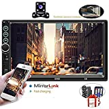 """Upgraded 2 din Car Stereo - Camecho 7"""" inch Touch Screen in Dash Car Radio Video Multimedia Player MP5 Player TF USB FM Radio with iOS/Android Mirror Link Remote Control & Steering Wheel Control"""