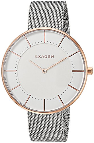 Skagen Women's Gitte Quartz Two-Tone Stainless Steel Mesh Casual Watch, Color: Silver and Rose Gold-Tone (Model: SKW2583)
