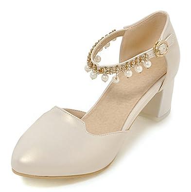 SHOWHOW Damen Süß Mittler Absatz Spitz Zehen Low Cut Künstliche Perlen Sandalen Beige 42 EU zlvTyKJI