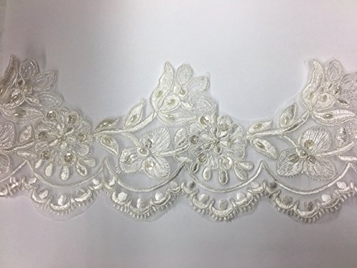 Pearl and sequined lace trim, beading cord lace trim, bridal lace trim selling per yard Ivory - Lace Trim Yard