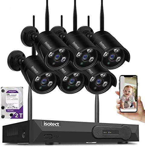 ISOTECT Newest Strong Version WiFi Wireless Security Camera System,8CH Full HD 1080P Video Security System, 6pcs Black Outdoor Indoor IP Cameras, 65ft Night Vision and Easy Remote View, 2TB HDD