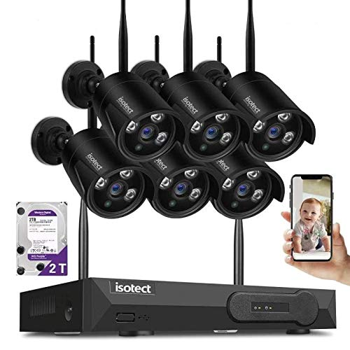 ISOTECT [Newest Strong Version WiFi] Wireless Security Camera System,8CH Full HD 1080P Video Security System, 6pcs Black Outdoor/Indoor IP Cameras, 65ft Night Vision and Easy Remote View, 2TB HDD