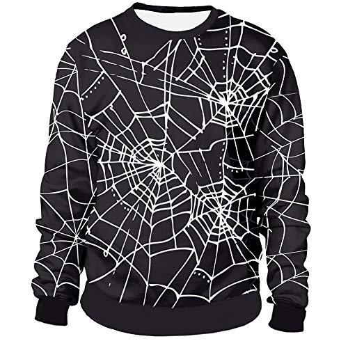 (Halloween Costume Men's Spiderwebs Crewneck Sweatshirts Printed Novelty Long Sleeve Jumpers Spiders Net)