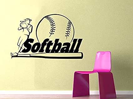 Amazon.com: Softball Wall Decal Sport Wall Decals Vinyl Stickers ...