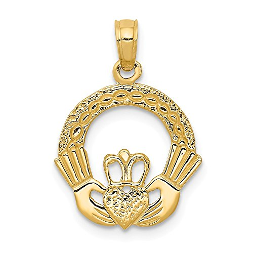 14k Yellow Gold Claddagh Circle Pendant, 15mm (9/16 ()