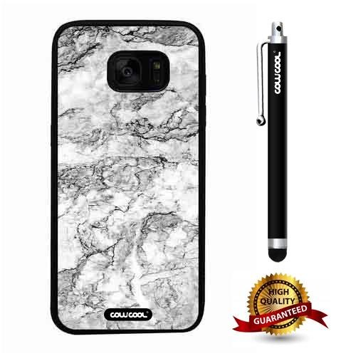 Galaxy S7 edge Case, Marble Pattern Case, Cowcool Ultra Thin Soft Silicone Case for Samsung Galaxy S7 edge - Ink Interlaced Marble Texture
