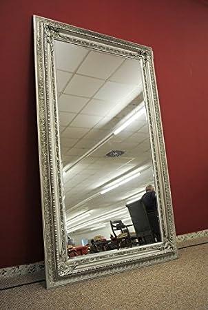 Grand Miroir Mural Couleur Argent Brillant à Facettes 120 X 200 Cm