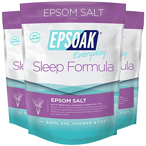 Epsoak Sleep Formula Epsom Salt 6 lbs. - Lavender Bath Soak, Relax & Sleep Well (Qty 3 x 2 lbs. (Organic Lavender Bath Soak)