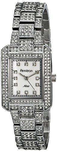 (Armitron Women's 75/5251MPSV Swarovski Crystal-Accented Silver-Tone Rectangular Watch)