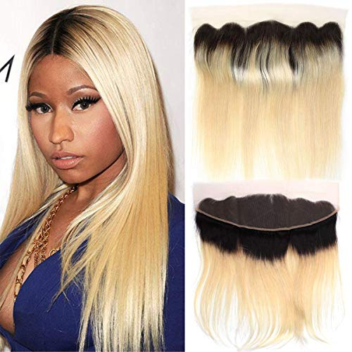 Ombre Blonde 1B 613 Ear to Ear Lace Frontal Andromeda Brazilian Straight Human Hair 13x4 Lace Frontal 613 Blonde with Black Roots Hair Frontal Pre Plucked Natural Hair Line (16 Inch Frontal)