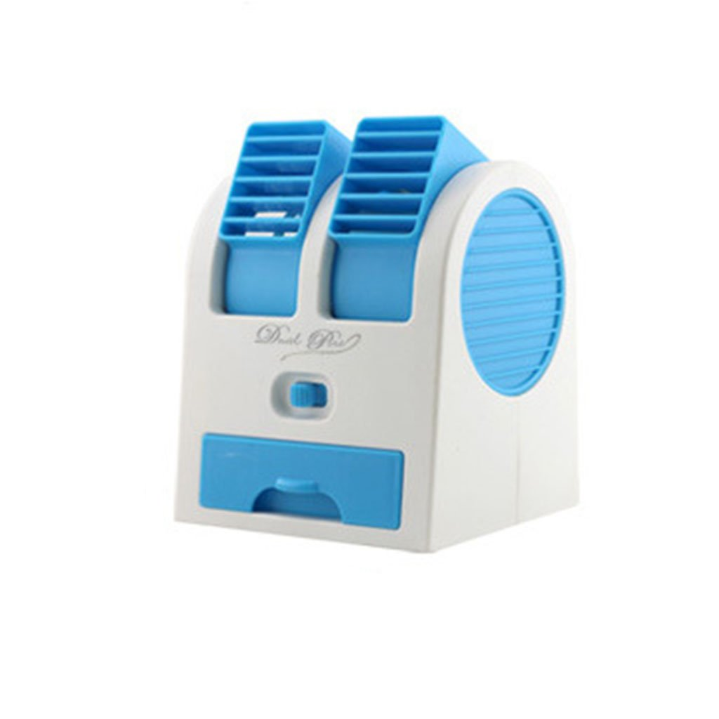 Mini Small Fan Cooling Portable Desktop Dual Bladeless USB Battery Air Conditioner Office Home - Blue , L Generic