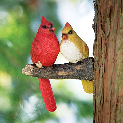 Bits and Pieces Pair of Cardinals Tree Hugger - Animal and Bird Tree Sculpture Outdoor Décor Garden Statue